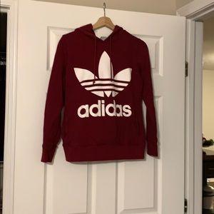 Adidas Red/Burgundy Hooded Women's Sweatshirt